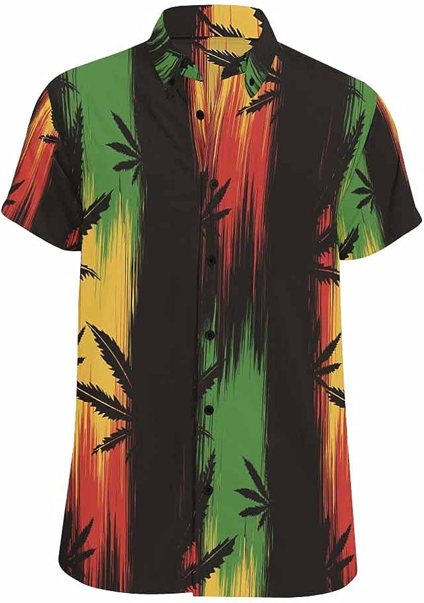 InterestPrint MakeWish UponStarfish Hawaiian Beach Shirt Button Down Relax Casual Shirts for Men