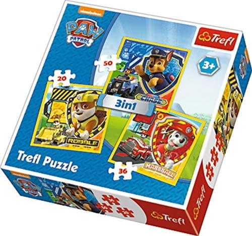 Trefl 3in1 Paw Patrol puzzel 20-36-50 delen, meerkleurig, 34839