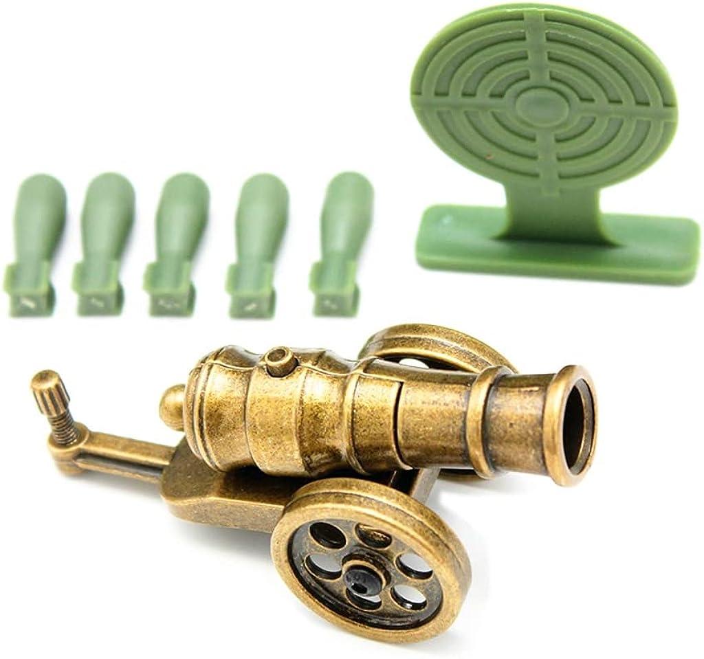QIDUDZ Mini juego de lanzador de mortero, coleccionables decorativos de metal, modelo de cañón de metal, accesorios de regalos viene con 30 balas (3 conchas verdes)