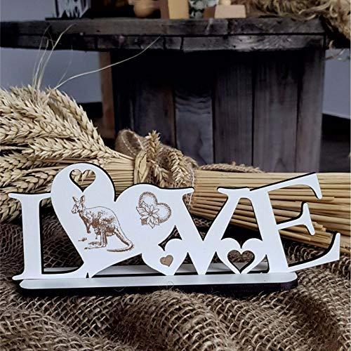 Deko Aufsteller LOVE mit Herzen und Motiv « KÄNGURU » Größe ca. 20 x 8 cm - Dekoration Schild Home Accessoires - Liebe Herz Tiere Australien