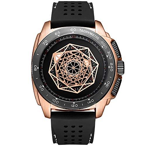 Relógio masculino de silicone Ruimas Military Sport de luxo, à prova d'água, com pulseira masculina 554, Rose Gold
