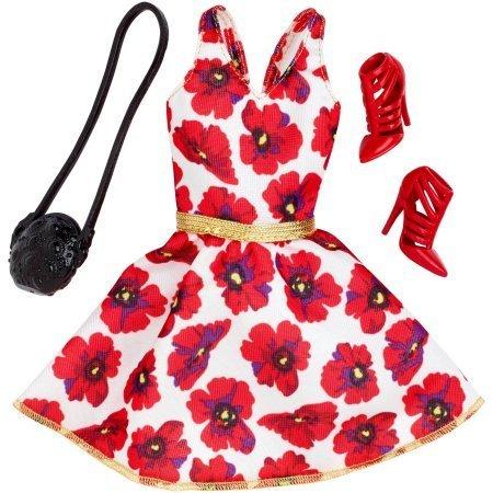 Barbie Paquete de moda de temporada: vestido rojo y blanco