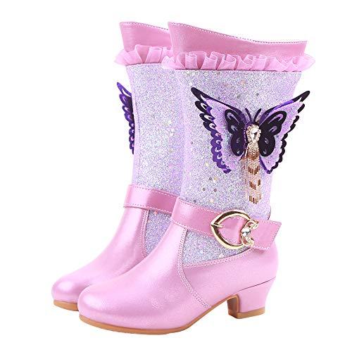 YOSICIL Botas de Nieve para Niños Invierno Felpa Botines Calentar Zapatos de Princesa con Forro Cálido Botas de Nieve Antideslizantes Bota de Invierno Disfraces Regalo de Cumpleaños