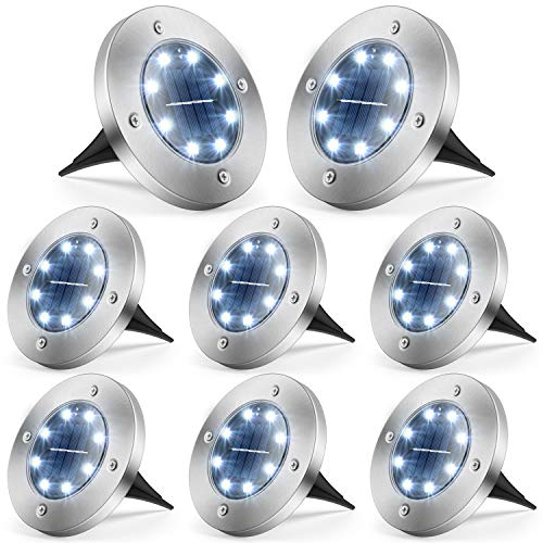 Solar Ground Lights, 8 LED Solar Lights Outdoor Waterproof Bright Solar Garden Lights Disk Lights for Pathway, Yard, Deck, Patio, Walkway ( Cold White, 8 Pack )