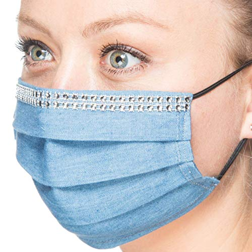 Maske Jeans mit silberfarbenem Strass | Mund-Nase-Abdeckung Staubmaske Gesichtsmaske Mundschutz | Handarbeit | atmungsaktiv | Face Cover Mouth and Nose Cover | handmade | breathable