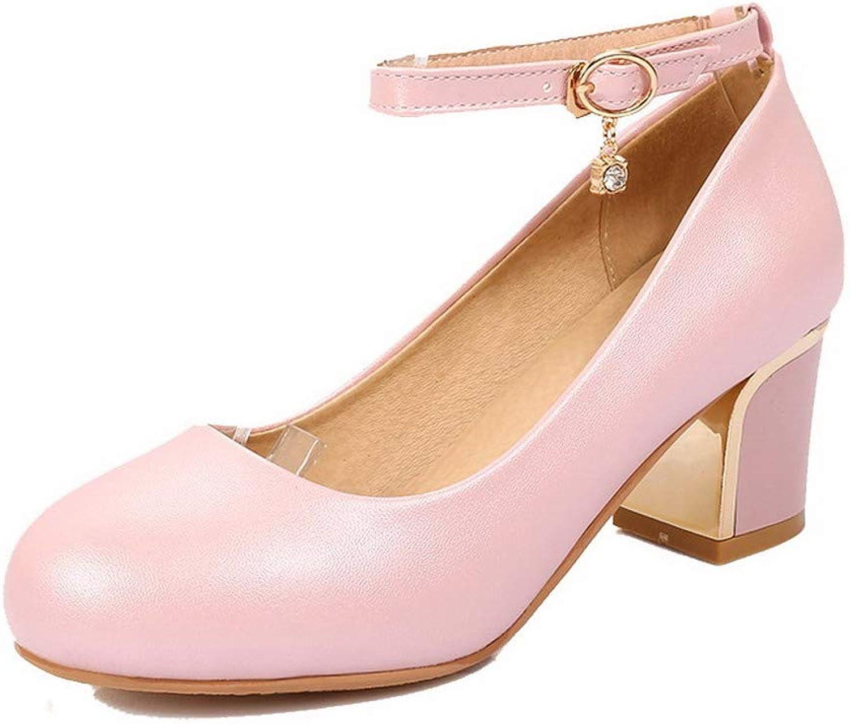 AllhqFashion Women's Solid Buckle Round-Toe Kitten-Heels Pumps-shoes, FBUDC010288