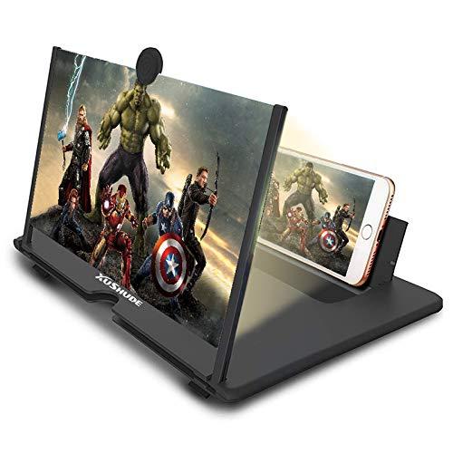 3D-Bildschirmlupe für Mobiltelefone, Faltbare 14-Zoll-Bildschirmlupe für Mobiltelefone, für Filme, Videos, 3-4-fache Lupe, kompatibel mit Allen Smartphones (schwarz