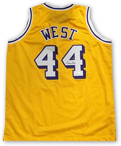 Jerry West Hand Signed Autographed #44 Yellow Jersey Los Angeles ...