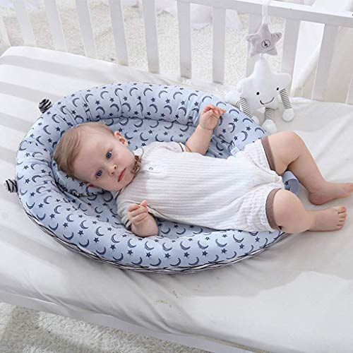 vocheer Baby Lounger Crib, Baby Lounger Bed Portable Sleeping Crib Head Support Pillow Soft Breather Mattress for Newborn 0-8 Months