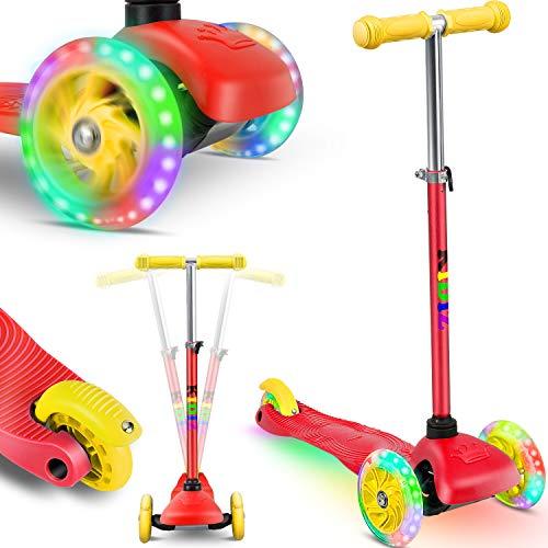 KIDIZ® Roller Kinder Scooter Pro1 Dreiradscooter mit PU LED Leuchtenden Räder Kinderroller Tret-Roller höhenverstellbarer cityroller Kinderscooter für Kinder Jungen Mädchen ab 3-12 Jahre, Rot