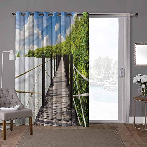 YUAZHOQI cortinas correderas de cristal para puerta, paisaje, puente de madera Tailandia, 100 x 96 pulgadas de ancho Panel de puerta de vidrio deslizante para Oversleep (1 panel)