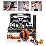 LJBOZ Mancuernas Ajustables Conjunto con Pesas Barra y Discos, Banco de PesasEntrenamiento de Fitness,15/20 / 30KG Mancuernas 2en17.5kg*2-Orange