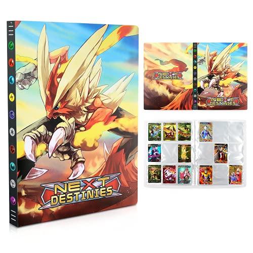 Pokemon Carte Album, Porta Carte Pokemon, Raccoglitore Carte Pokémon,Album Pokemon Cards GX EX Trainer,Album di Carte da Collezione, 24 Pagine -Può Contenere Fino a 432 Carte (Flame chicken)
