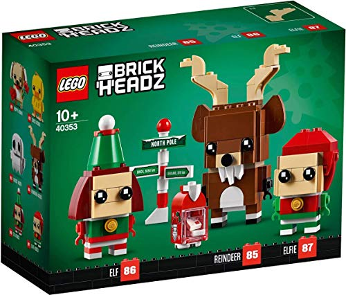 LEGO BrickHeadz Christmas Reindeer, Elf, and Elfie 40353 Holiday Building Kit (281 Pieces)
