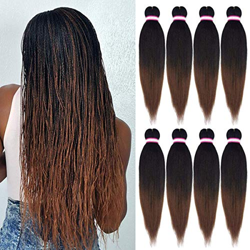 8 Packs Pre-stretched Braiding Hair Extensions Professional Easy Crochet Braids Yaki Texture Perm Fiber Hot Water Setting Ombre Natural Black Brown Synthetic Hair for Twist Braids (20Inch, 1B/30#)