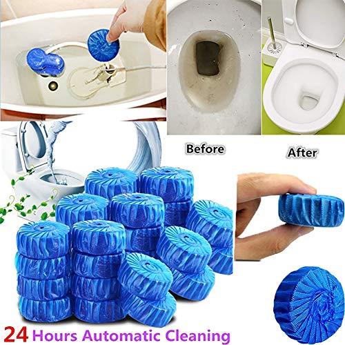 Huhuswwbin Toilette automatique détergent, 10pcs automatique Eau de Javel Cuvette WC Réservoir Détachant Bleu Tab Tablette détergent
