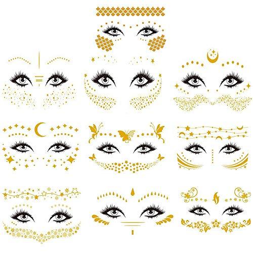 10 Piezas Tatuajes en la cara Pegatinas,Tatuajes Temporales,Impermeable Metálico Tatuaje Temporal,Pegatina Flash Facial para Niñas y Mujeres