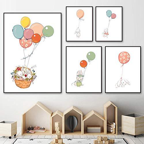 Wqavten canvas, 5-delig, haas, schattig, bloemen, ballon, dieren, foto's, modern, bedrukt, voor woonkamer, muur, Art-30 x 40 x 60 x 80 cm, zonder lijst