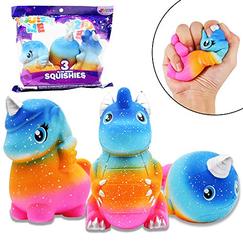 JOYIN 3 Pack Jumbo Galaxy Design Squishy Slow Rising Fantasy Animal Toy Slow Rising Stress Relief Soft Squeeze Kawaii Animal Friends Toys for Boys and Girls