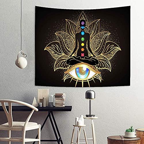 Chakra Tapestry Golden Black Eyes Lotus Yoga Meditation Tapestry Wall Hanging, Buddha Spiritual Tapestry for Bedroom, Spandex Velvet Wall Tapestry Home Decor 51'x59' SSA063