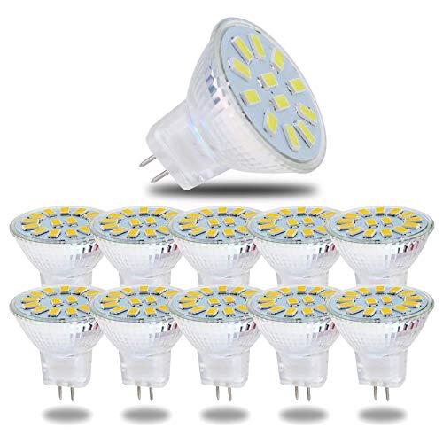 ZHFF Paquete de 10 Bombillas LED MR11, 12 voltios, Base de Dos Clavijas GU4, Foco de 120 Grados, 5 vatios, 500 lúmenes, no Regulables, Bombillas de iluminación para Jardines, Bombilla LED de 2