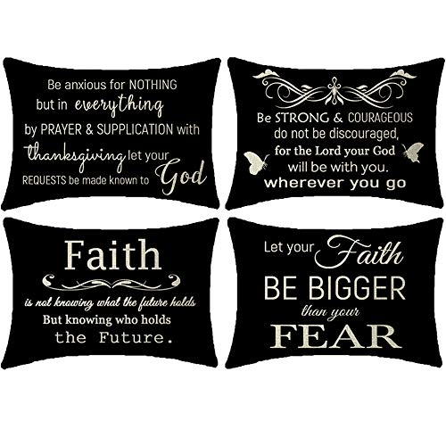 NIDITW Set of 4 Scripture Sayings Let Your Faith Be Bigger Than Your Fear Black Lumbar Waist Burlap Cushion Cover Pillow Case Chair Couch Decorative Rectangle 12x20 Inch
