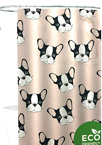 EcoPure ECO Shower Curtain Plush Pink French Bulldog, Boston Terrier, 100% PEVA, Chloride and PVC Free | 70 X 72 in