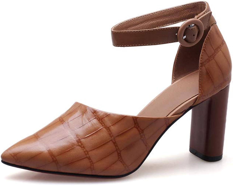 Nio Nio Nio Sju genuina läderskor Med spetsig tå High Chunky Heel Elegant Handgjort Conciece Buckle Ankle Strap Pumpar  grossistpris