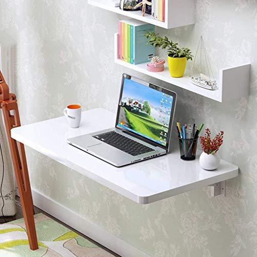 JINKEBIN Mesa Plegable de Escritorio de la computadora de Pared Mesa Plegable Comedor Estación de Trabajo Mesa de alas abatibles Aprendizaje en el hogar Escritorio Blanco, Negro
