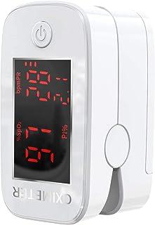 Oxímetro, pulsioxímetro de dedo, oximetro dedo, pulsioximetro de dedo profesional, saturador oxigeno profesional, medidor saturacion oxigeno con pantalla LED, con cordón (blanco)