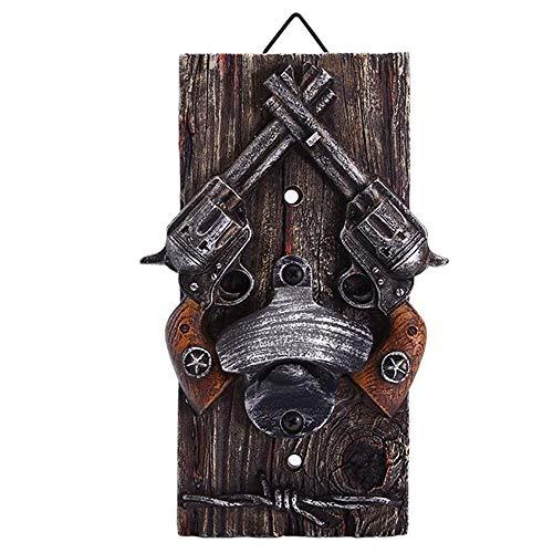 Gun Bottle Opener Wall Hanging Bottle Opener, Pistol Bottle Opener Western Cowboy Crossed Pistol Decor Revolvers and Pistolas Beer Opener Rustic Farmhouse Bar D�cor (5.2 X 1.8 X 8 inch)