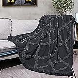 CAMPIR Plush Throw Blankets for Bed,Soft Warm Throw Blanket,Dual Sided Sherpa Throw Blankets for All Season,Machine Washable Fleece Blankets,Fuzzy Blanket for Sofa Couch Bed(Dark Grey, 51x63)