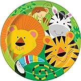 Unique Party 52085 - Assiettes en Carton - 23 cm - Fête à thème des Animaux de Jungle - Paquet de 8