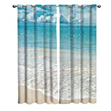 T&H Home Tropical Curtains, Exotic Beach with Vivid Sky Ocean Island Scenery Window Curtain, 2 Panel Curtains for Sliding Glass Door Bedroom Living Room, 80' W by 63' L