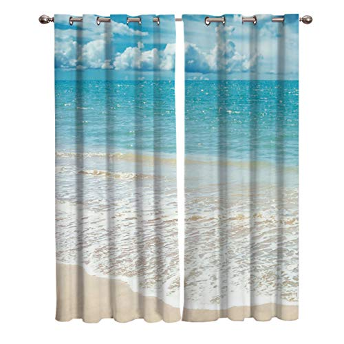 "T&H Home Tropical Curtains, Exotic Beach with Vivid Sky Ocean Island Scenery Window Curtain, 2 Panel Curtains for Sliding Glass Door Bedroom Living Room, 54"" W by 39"" L"