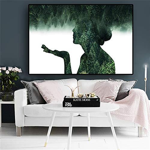 RTCKF Abstrakte Landschaft Waldfigurenmalerei auf Leinwandplakaten und Drucken Skandinavisches minimalistisches Wandkunstbild für Wohnzimmer A5 70X120CM