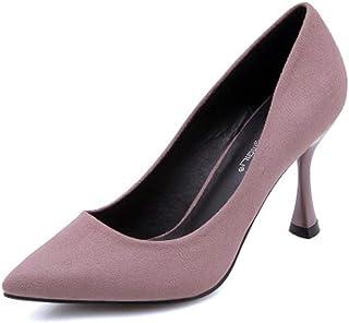 KTYXDE High Heel Women's Temperament Stiletto Work Shoes Spring and Summer 9CM Purple Black Women's Shoes (Color : Purple, Size : EU36/UK4/CN36)