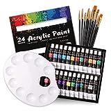 35 Pezzi Acrilici Set Pittura per Bambini e Principianti - 24 Colori (12 ml) Colori Acrilici Anti-sbiadimento con 10pz Pennelli Pittura, 1 Palette Miste per Dipingere Pittura su Tela, Legno, Tessuto
