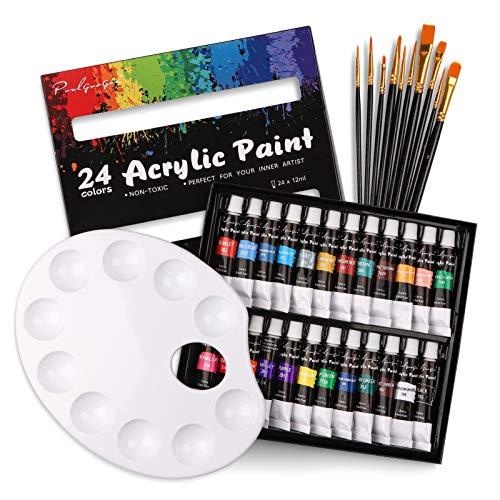 35 Pezzi Acrilici Set Pittura per Bambini e Principianti - 24 Colori (12 ml) Colori Acrilici Anti-sbiadimento con 15pz Pennelli Pittura, 1 Palette Miste per Dipingere Pittura su Tela, Legno, Tessuto