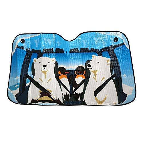 Comical Car Windshield Sun Shades - Polar Bear And Penguin
