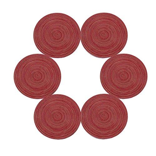 SHACOS Juego de 6 manteles Tejidos Redondos,manteles de Mesa Redonda de algodon de 15 Pulgadas Lavables,para la Mesa de Comedor de la Cocina Fiesta navidena-Rojo