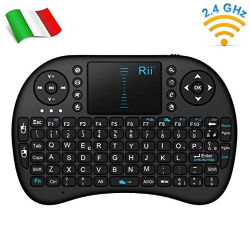 Rii Mini i8 Wireless (layout ITALIANO) - Mini tastiera wireless ergonomica con mouse touchpad per Smart TV, Mini PC, HTPC, Console, Computer