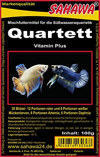 SAHAWA® Frostfutter 5X 100g Blister Quartett verpackt mit Trockeneis -78°C, Aquarium, Aquaristik, Fischfutter, Frostfutter