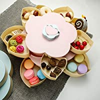 スナック ボウル 菓子器 キャンディープレート フルーツ かご 花びら型 二重層 回転 スナックトレイ 携帯電話ホルダー付き 小物入れ お菓子入れ 雑貨収納 食器