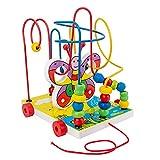 Germplasm Juguetes de madera para niños rompecabezas de perlas círculos laberinto educativo temprano juguetes bolas laberinto ábaco exterior juguetes para niños pequeños 1-3