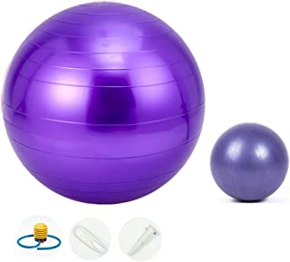 Jueachy Yoga Ball Professional Balance Ball(55-65cm) with Extra Pilates Exercise Ball for Sports Stability Home Abdominal ...