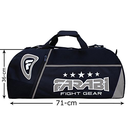 Farabi,gym fitness workout gear bag, MMA, boxing gear bag, holdall training gear travel bag (Black/grey)