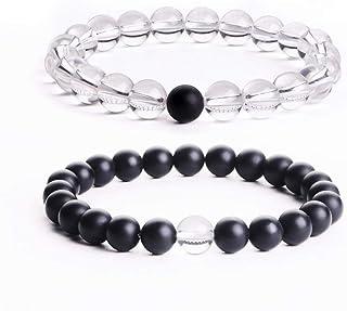 REBUY® 2pcs/set 8mm Natural Couple Distance White Crystal Matte Black Onyx Yoga elastic beads bracelet
