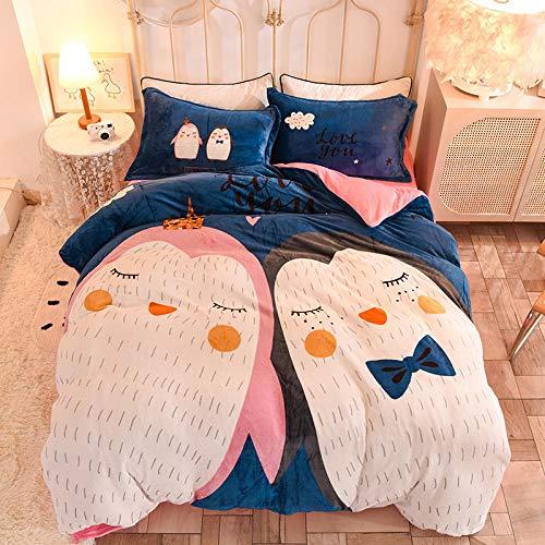 juego de ropa de cama 135x190-Invierno engrosamiento y terciopelo franela de doble cara de dibujos animados de lana de coral 1.8m sábana / funda de cama juego de 4 piezas-C_Colcha de 1,5 m (4 piezas)
