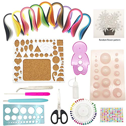Paper Quilling Tools Set, 12 Paper Quilling Tools, 900 Pcs 5mmx39mm Paper Strips in 40 Colors, Random Paper Pattern and Colorful Brick Stickers for Paper Crafts, DIY Handcrafts, Set of 21 Pack